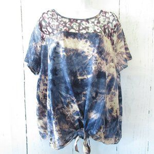 Umgee Top Tie Dye Leopard Tie Front Plus Size